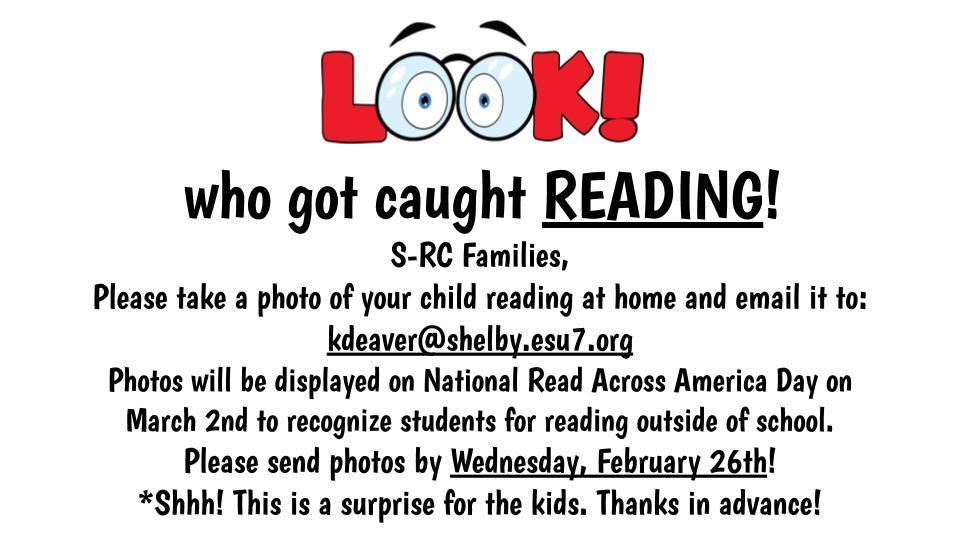 Wednesday, February 26th is the last day to submit photos of your child reading at home!